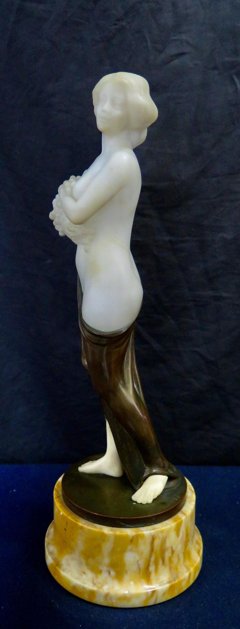 Carved Alabaster & Bronze Art Nouveau Figural Sculpture For Sale 9