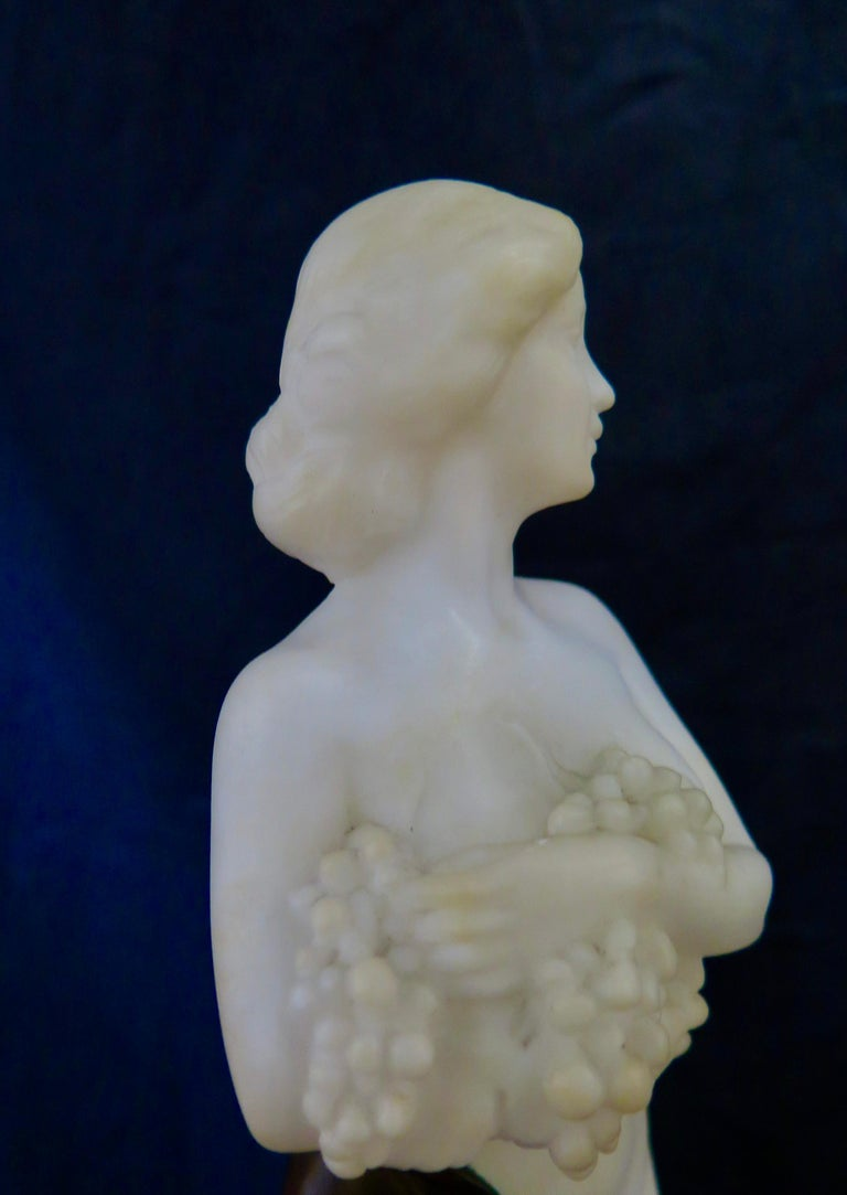 Patinated Carved Alabaster & Bronze Art Nouveau Figural Sculpture For Sale