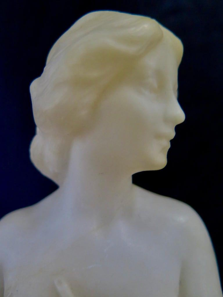 20th Century Carved Alabaster & Bronze Art Nouveau Figural Sculpture For Sale