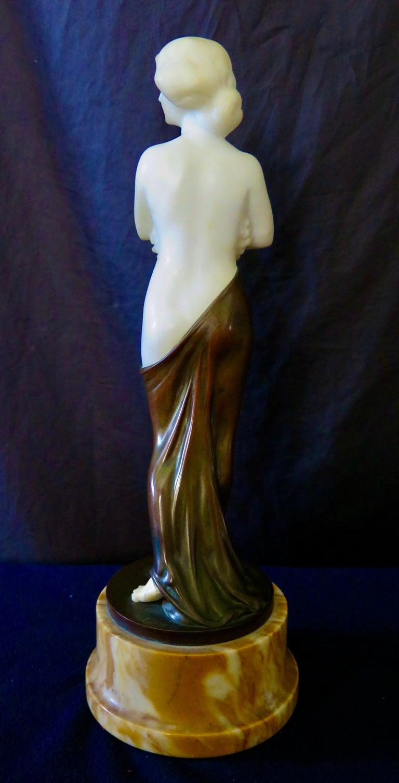Carved Alabaster & Bronze Art Nouveau Figural Sculpture For Sale 3
