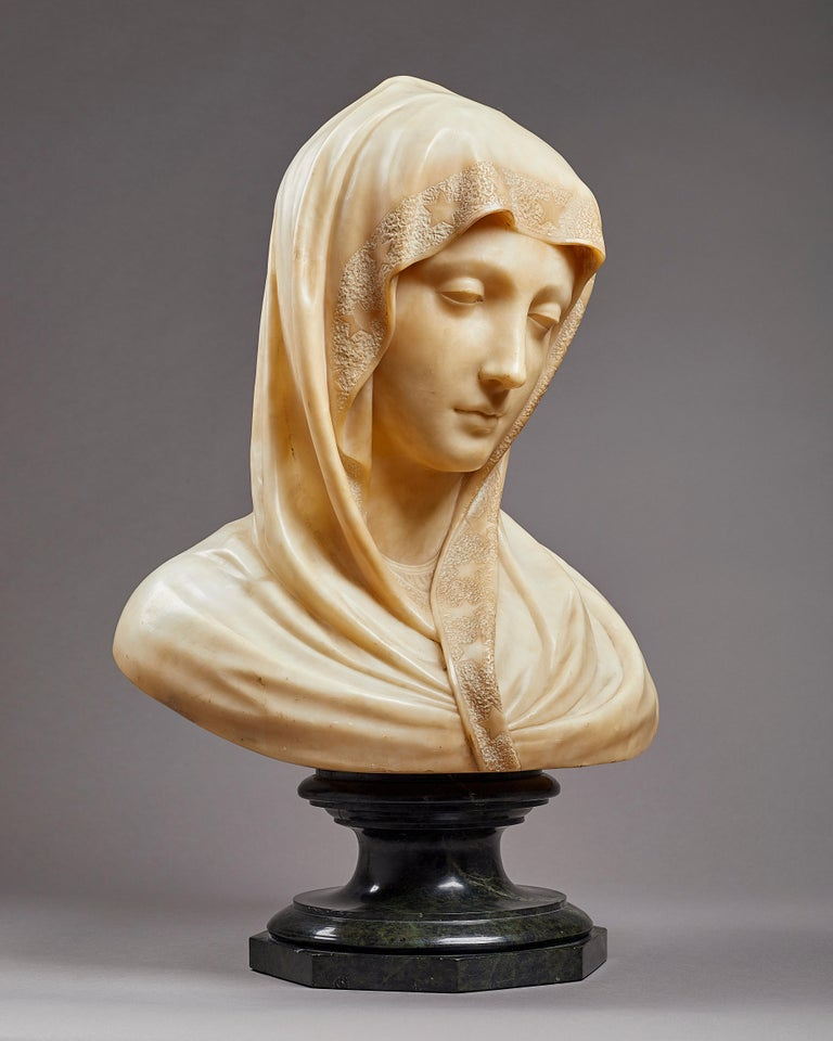 Renaissance Carved Alabaster Bust of the Madonna, Italian, 19th Century For Sale