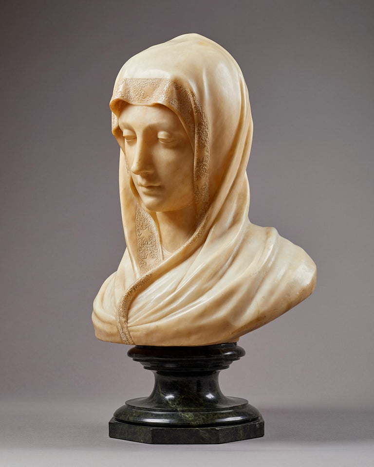 Carved Alabaster Bust of the Madonna, Italian, 19th Century In Good Condition For Sale In London, GB