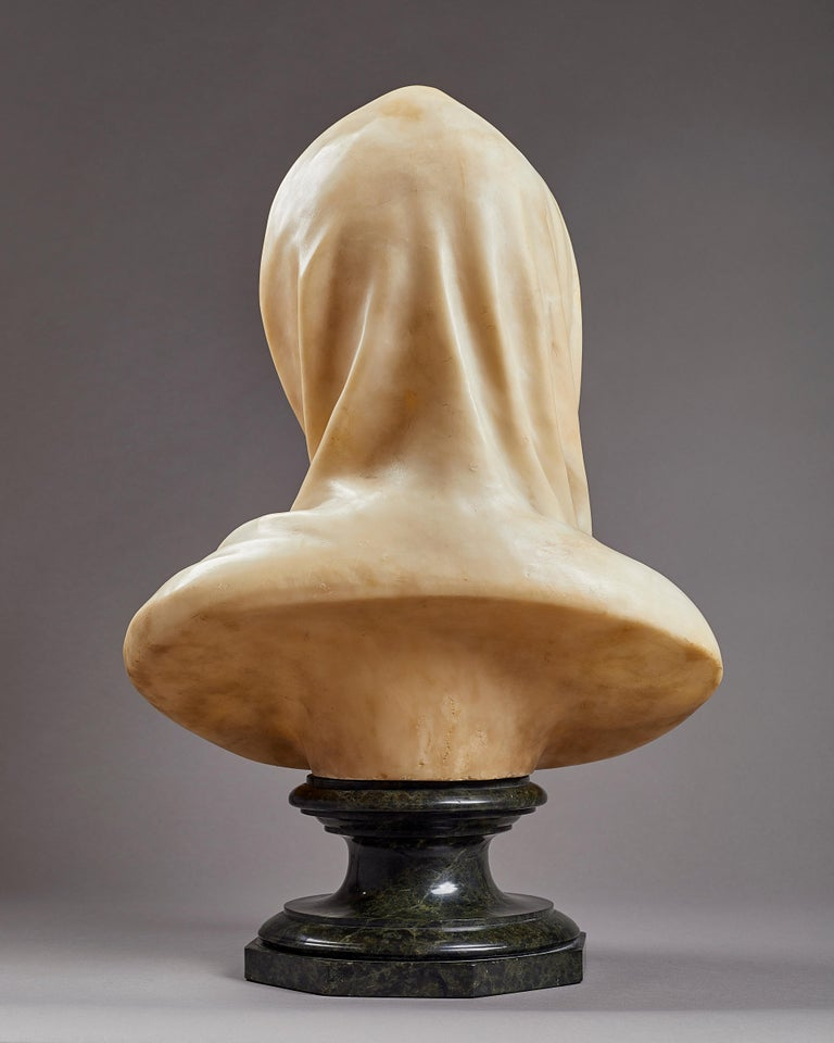 Carved Alabaster Bust of the Madonna, Italian, 19th Century For Sale 1