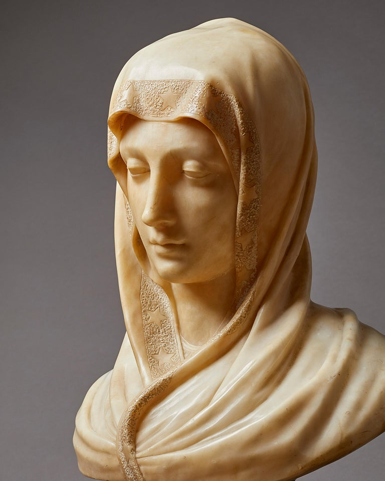 Carved Alabaster Bust of the Madonna, Italian, 19th Century For Sale 2