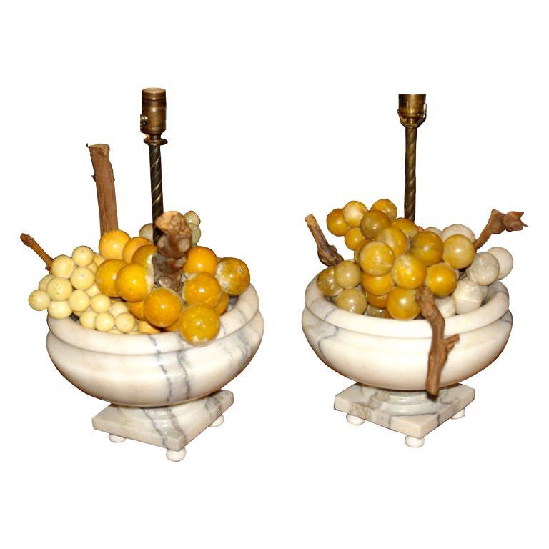 Carved Alabaster Grape Lamps