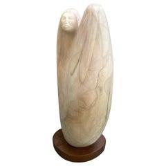 Carved Alabaster Indian Sculpture Signed