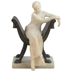 Carved Alabaster Lady Seated in a Bronze Chair, Artist Signed, Italian, ca. 1900