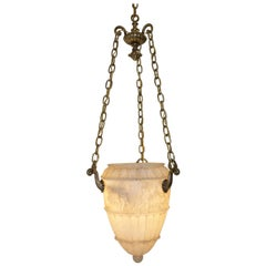Carved Alabaster Pendant Light Fixture with Brass Hardware, Italian, circa 1910