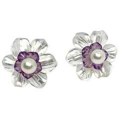 Carved Amethyst and Mother of Pearl Flower Earring Jackets 14k Gold Pearl Posts