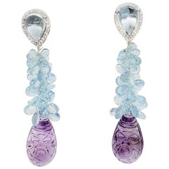 Carved Amethyst, Aquamarine Briolette, and White Diamond Earrings in 18k Gold