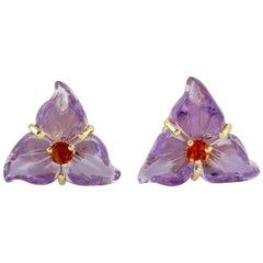 Carved Amethyst Citrine 18 Karat Gold Flower Stud Earrings