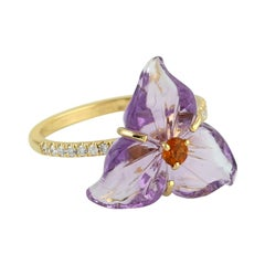Carved Amethyst Citrine Diamond 18 Karat Gold Flower Ring