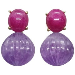Carved Amethyst Round Drops Ruby Cabochons 14 Karat Solid Yellow Gold Earrings