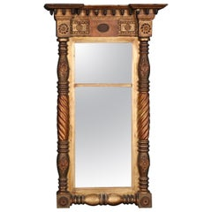 Carved and Gilded American Antique Federal Wall Mirror, Circa 1850