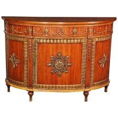 Carved and Gilded John Widdicomb Walnut Demilune Commode