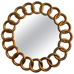 Carved and Gilded Large Round Mirror by Harrison & Gil