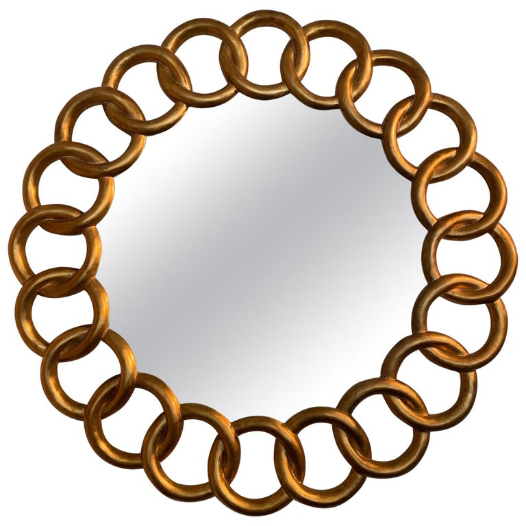 Carved and Gilded Large Round Mirror by Harrison & Gil For Sale