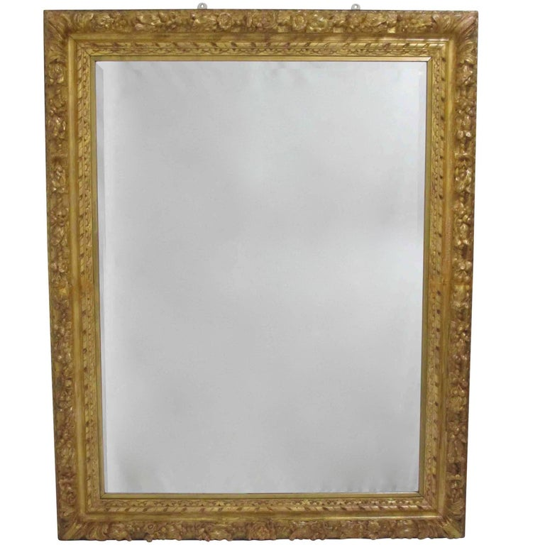 Carved and Gilt Frame with Beveled Mirror, Spanish, Late 18th Century