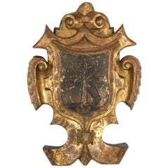 Carved and Gilt Wood 18th Century Coat of Arms for the City of Madrid