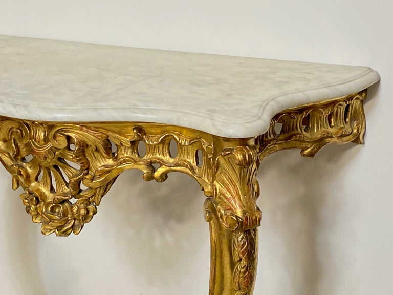 Wood Carved and Giltwood Console Table with Marble Top, Italian, 19th Century For Sale