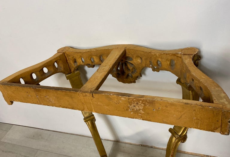 Carved and Giltwood Console Table with Marble Top, Italian, 19th Century For Sale 2