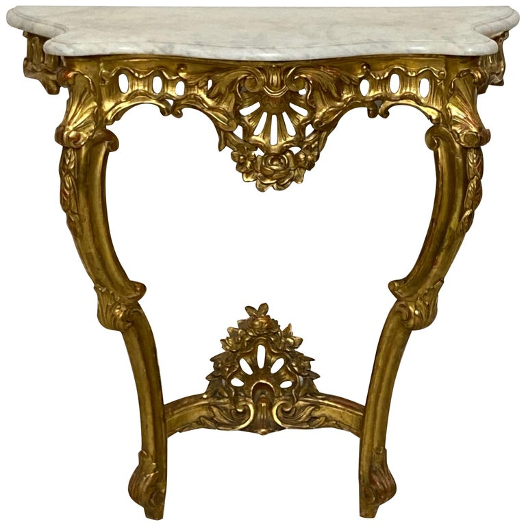 Carved and Giltwood Console Table with Marble Top, Italian, 19th Century For Sale
