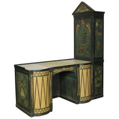 Carved and Paint Decorated Desk