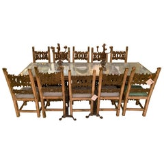 18th Century Italian Gilt Dining Table w Eight Chair Suite. Carved and Painted.