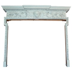 Carved and Painted Beechwood Georgian Fireplace Mantle or Surround