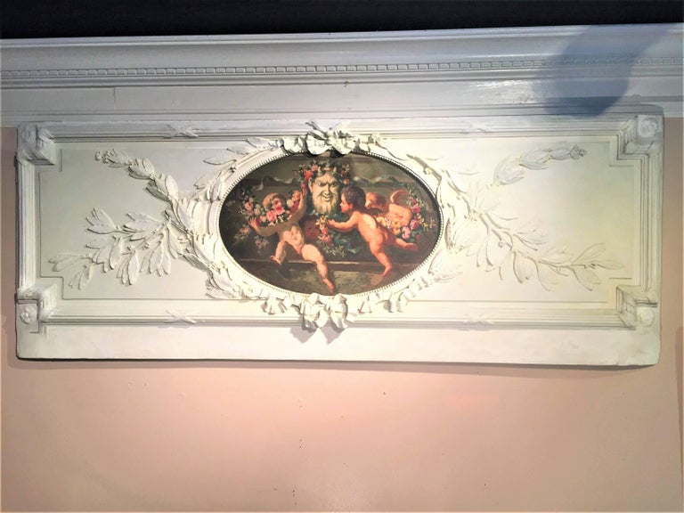 Carved and Painted Boiserie Overdoor Frieze Panel with Cherubs Oil Inset For Sale 3