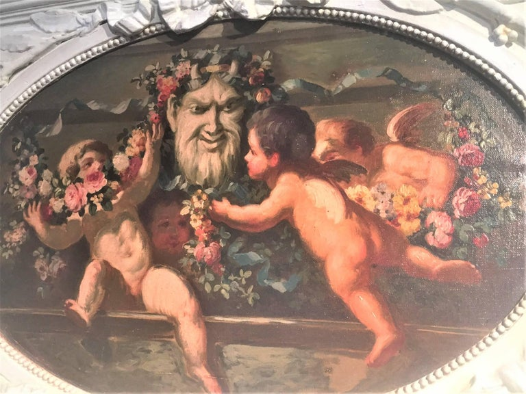 Louis XVI Carved and Painted Boiserie Overdoor Frieze Panel with Cherubs Oil Inset For Sale