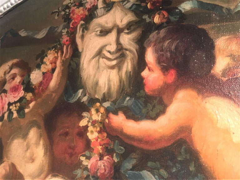 French Carved and Painted Boiserie Overdoor Frieze Panel with Cherubs Oil Inset For Sale