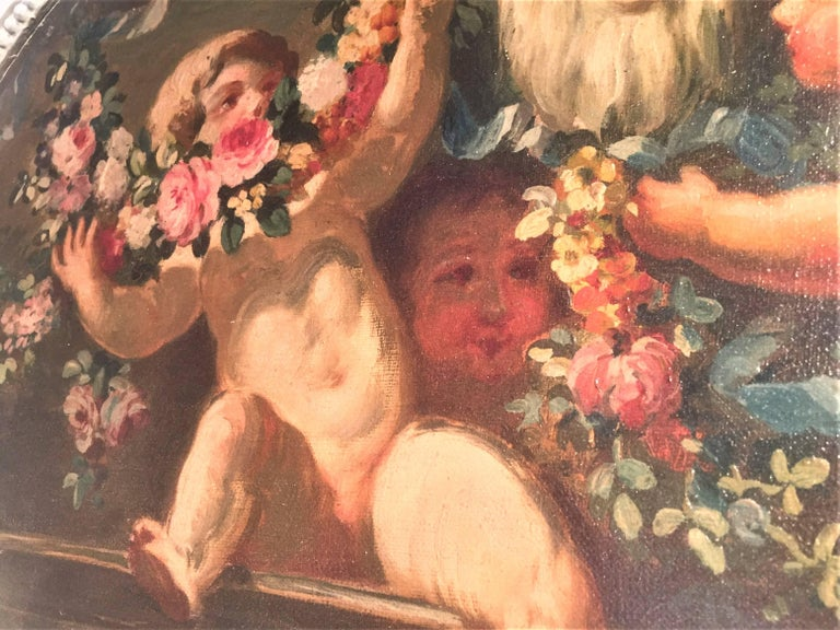 Carved and Painted Boiserie Overdoor Frieze Panel with Cherubs Oil Inset In Good Condition For Sale In Nashville, TN