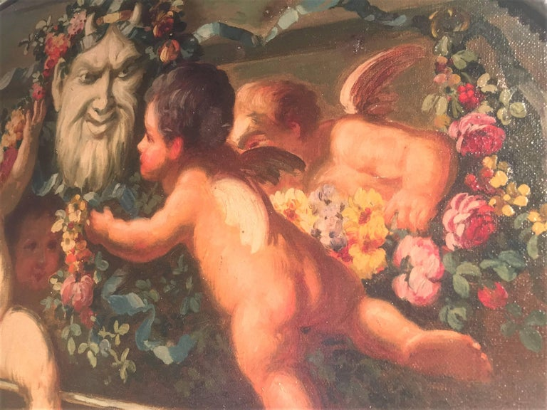 Early 20th Century Carved and Painted Boiserie Overdoor Frieze Panel with Cherubs Oil Inset For Sale