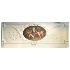 Carved and Painted Boiserie Overdoor Frieze Panel with Cherubs Oil Inset
