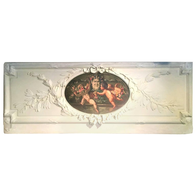 Carved and Painted Boiserie Overdoor Frieze Panel with Cherubs Oil Inset For Sale