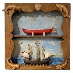 Carved and Painted Double Diorama of a Whaleship and Whaleboat by Frank Finney