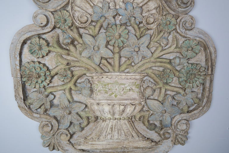 Carved and Painted Floral Wall Hanging, circa 1900 For Sale 3