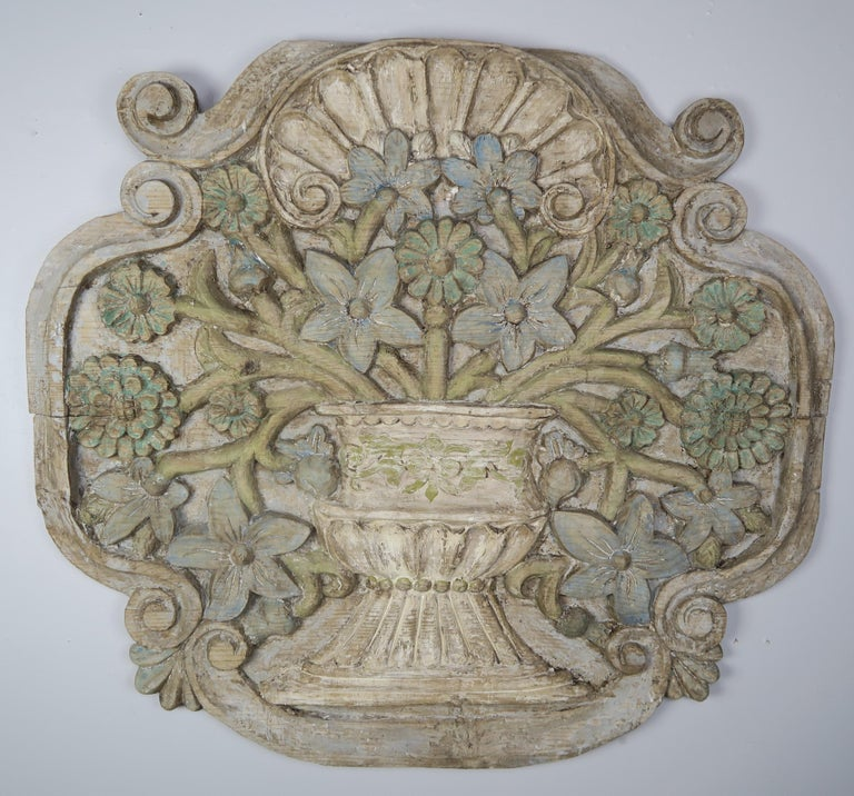 Carved and Painted Floral Wall Hanging, circa 1900 For Sale 5