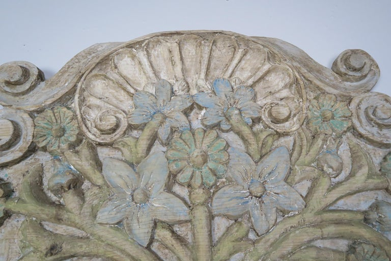 Rococo Carved and Painted Floral Wall Hanging, circa 1900 For Sale