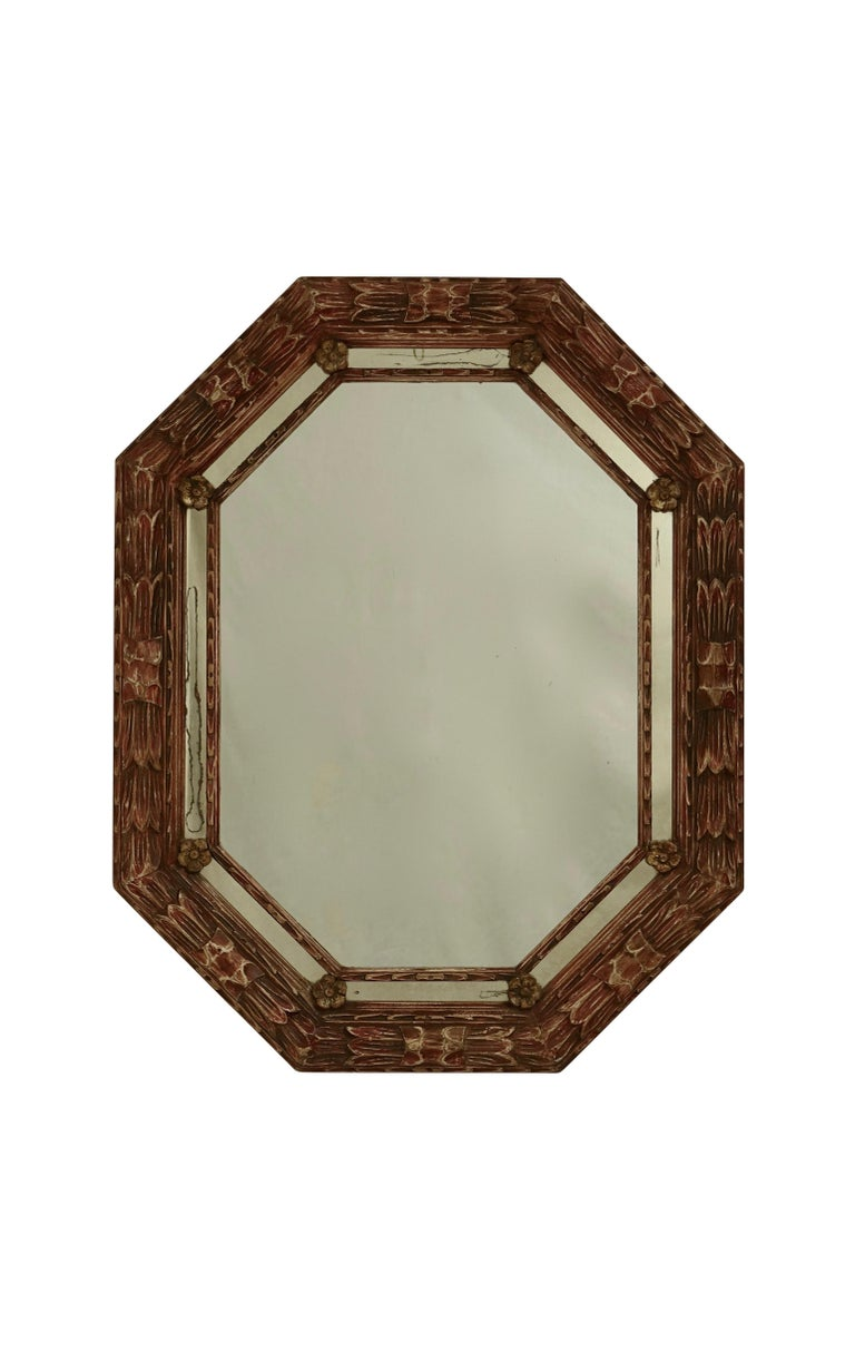European Carved and Painted Octagonal Mirror For Sale