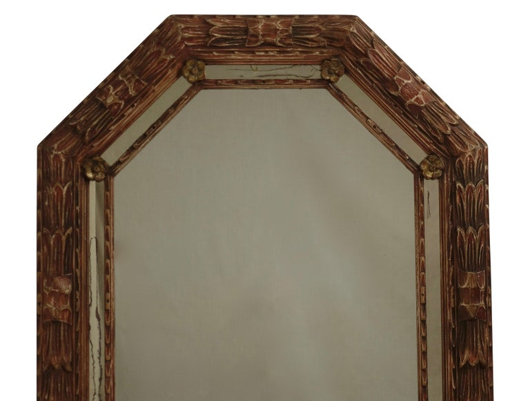 Carved and Painted Octagonal Mirror In Good Condition For Sale In San Francisco, CA