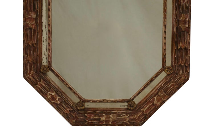 20th Century Carved and Painted Octagonal Mirror For Sale