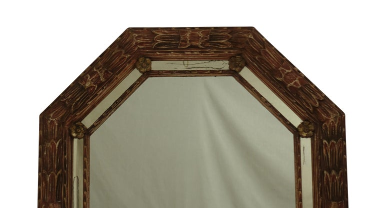 Carved and Painted Octagonal Mirror For Sale 1