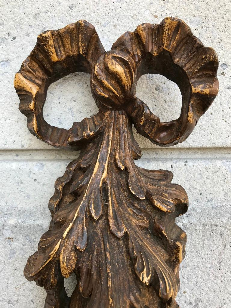 Carved and Painted Wood Architectural Fruit Swag For Sale 9