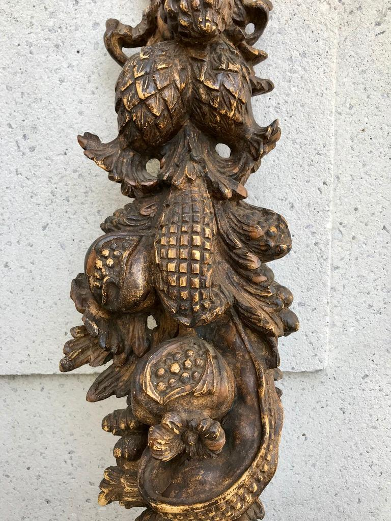 French Carved and Painted Wood Architectural Fruit Swag For Sale