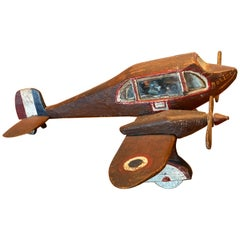 Carved and Painted Wood Model of a French Propeller Plane, circa 1945