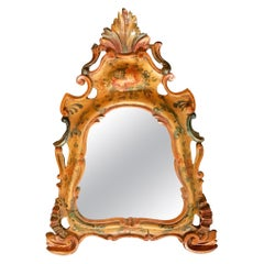 Carved and Polychrome Painted Venetian Rococo Wall Mirror, Provenance