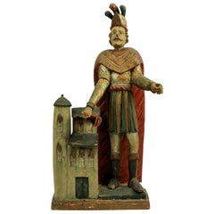 Carved and Polychrome Statue of Saint Florian