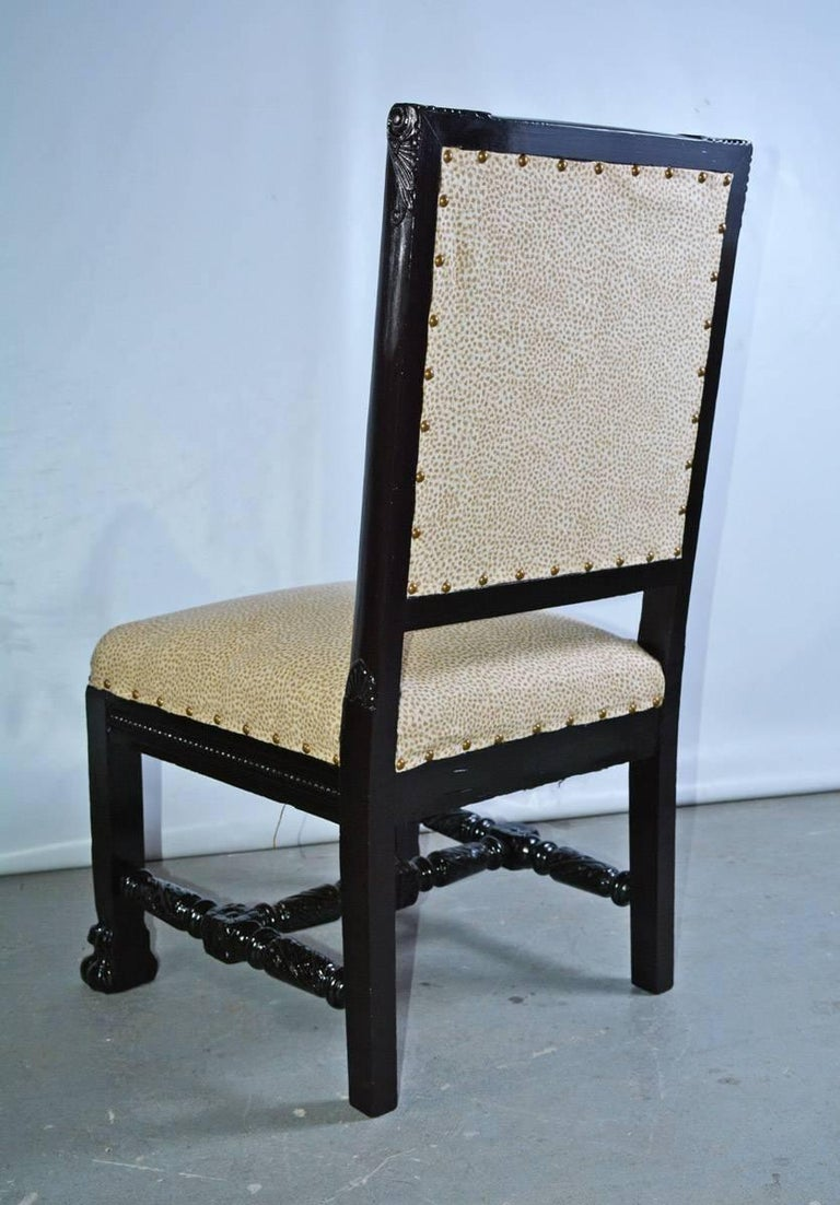 Gothic Revival Carved and Upholstered Hall Chair For Sale